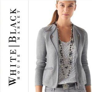 "WHBM gray zip, ""leather"" trim sweater jacket"